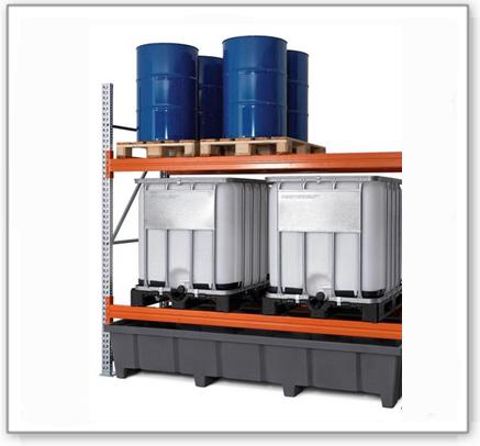 Palettenregal PRP 27.27 für 6 Euro- oder 4 Chemiepaletten oder 4 IBC, mit 2 Lagerebenen, Anbaufeld