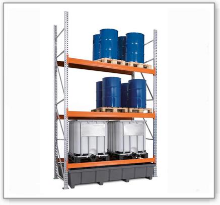 Palettenregal PRP 27.44 für 9 Euro- oder 6 Chemiepaletten oder 6 IBC, mit 3 Lagerebenen, Grundfeld