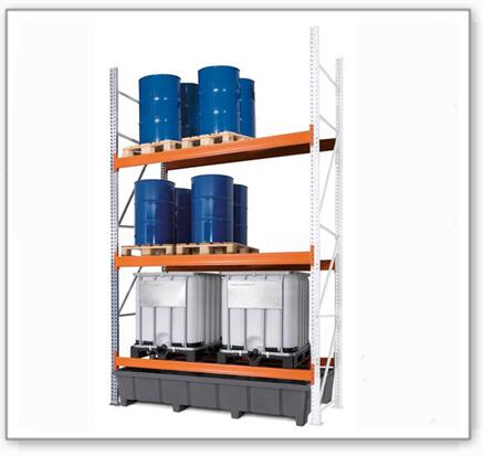 Palettenregal PRP 27.44 für 9 Euro- oder 6 Chemiepaletten oder 6 IBC, mit 3 Lagerebenen, Anbaufeld