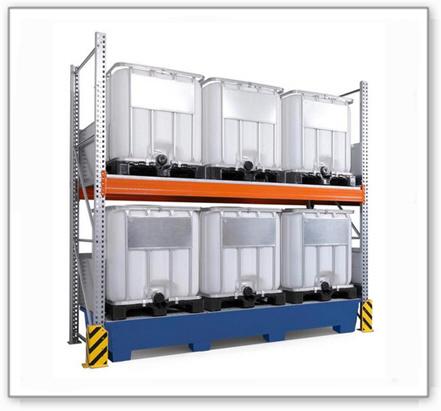 Combi-Regal 3 K6-I mit lackierter Auffangwanne, für 6 IBC à 1000 Liter, Grundfeld