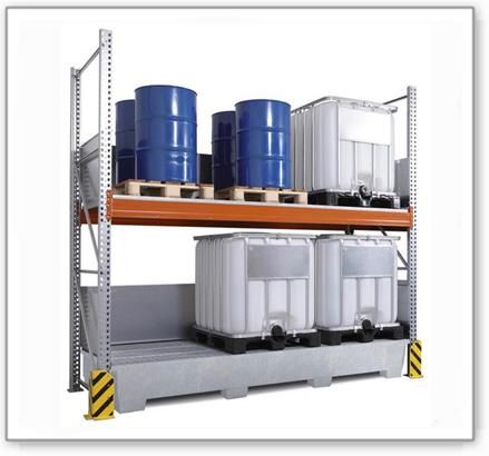Combi-Regal 3 K6-I mit verzinkter Auffangwanne, für 6 IBC à 1000 Liter, Grundfeld