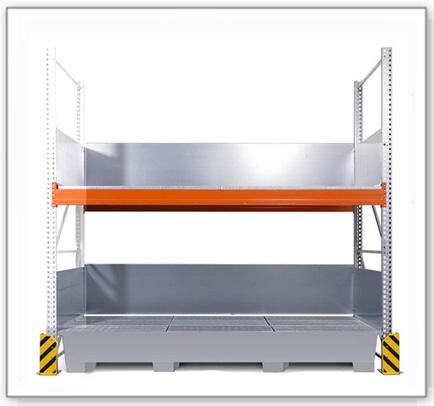 Combi-Regal 3 K6-I mit verzinkter Auffangwanne, für 6 IBC à 1000 Liter, Anbaufeld