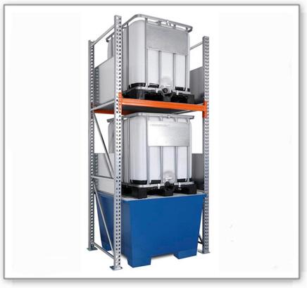 Combi-Regal 3 K2-I mit lackierter Auffangwanne, für 2 IBC à 1000 Liter, Grundfeld