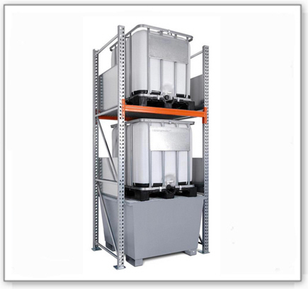 Combi-Regal 3 K2-I mit verzinkter Auffangwanne, für 2 IBC à 1000 Liter, Grundfeld