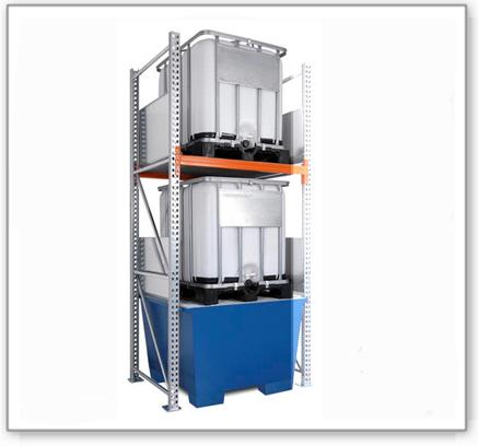Combi-Regal 3 K2-I mit lackierter Auffangwanne, für 2 IBC à 1000 Liter, Anbaufeld