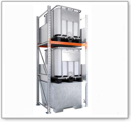 Combi-Regal 3 K2-I mit verzinkter Auffangwanne, für 2 IBC à 1000 Liter, Anbaufeld