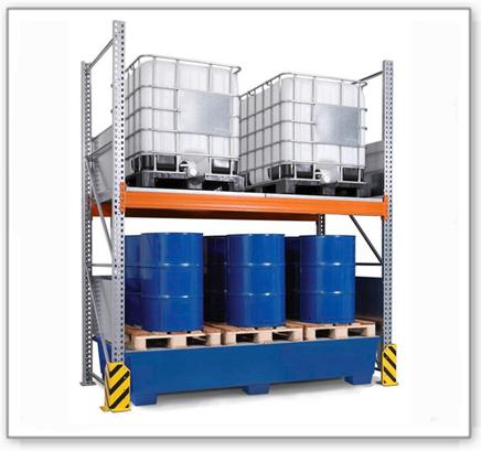 Combi-Regal 3 K4-I mit lackierter Auffangwanne, für 4 IBC à 1000 Liter, Grundfeld