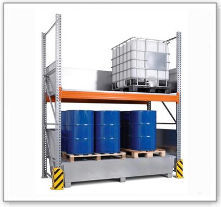Combi-Regal 3 K4-I mit verzinkter Auffangwanne, für 4 IBC à 1000 Liter, Grundfeld