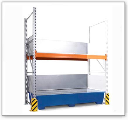 Combi-Regal 3 K4-I mit lackierter Auffangwanne, für 4 IBC à 1000 Liter, Anbaufeld