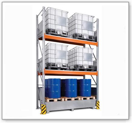 Combi-Regal 4 K6-I mit verzinkter Auffangwanne, für 6 IBC à 1000 Liter, Grundfeld