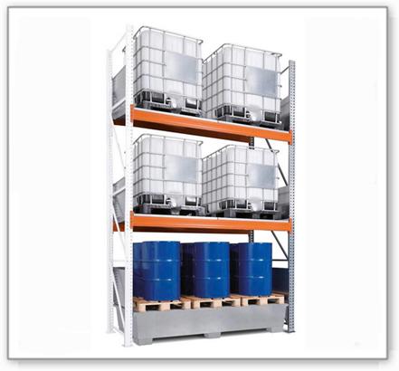 Combi-Regal 4 K6-I mit verzinkter Auffangwanne, für 6 IBC à 1000 Liter, Anbaufeld