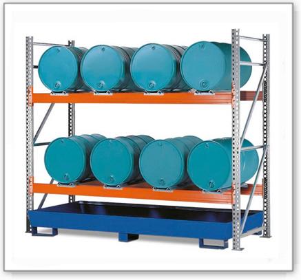 Combi-Regal 2 L8-I mit lackierter Auffangwanne, für 8 Fässer à 200 Liter liegend, Grundfeld