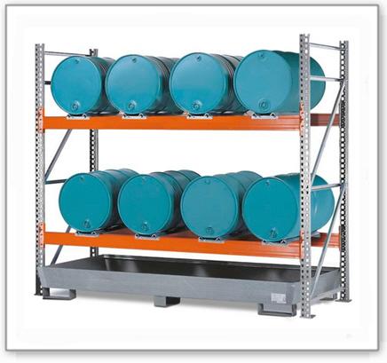 Combi-Regal 2 L8-I mit verzinkter Auffangwanne, für 8 Fässer à 200 Liter liegend, Grundfeld