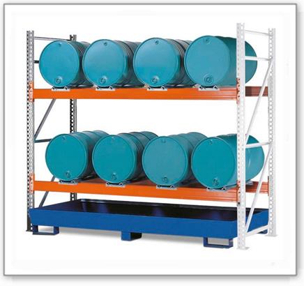 Combi-Regal 2 L8-I mit lackierter Auffangwanne, für 8 Fässer à 200 Liter liegend, Anbaufeld