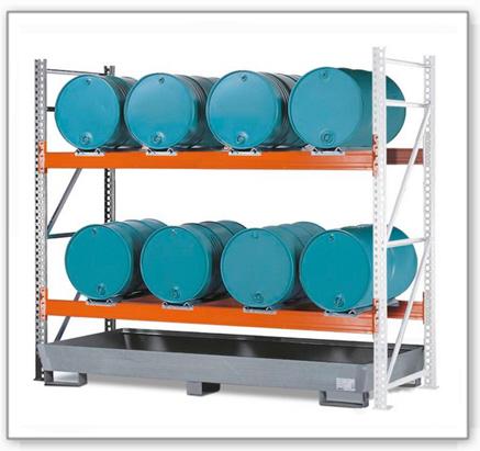 Combi-Regal 2 L8-I mit verzinkter Auffangwanne, für 8 Fässer à 200 Liter liegend, Anbaufeld