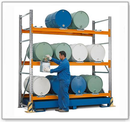Combi-Regal 3 L12-I mit lackierter Auffangwanne, für 12 Fässer à 200 Liter liegend, Grundfeld