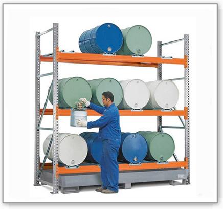 Combi-Regal 3 L12-I mit verzinkter Auffangwanne, für 12 Fässer à 200 Liter liegend, Grundfeld