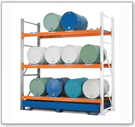 Combi-Regal 3 L12-I mit lackierter Auffangwanne, für 12 Fässer à 200 Liter liegend, Anbaufeld
