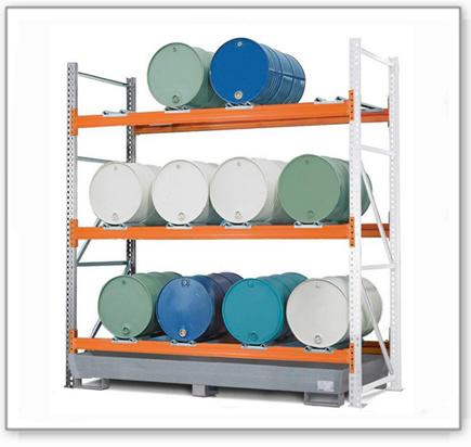 Combi-Regal 3 L12-I mit verzinkter Auffangwanne, für 12 Fässer à 200 Liter liegend, Anbaufeld