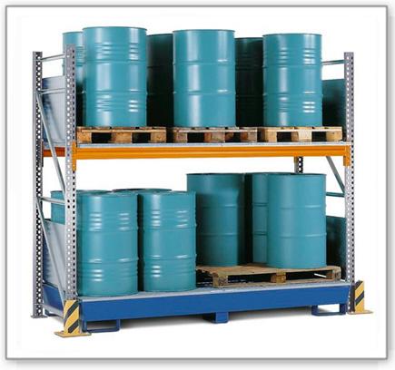 Combi-Regal 2 S16-I mit lackierter Auffangwanne, für 16 Fässer à 200 Liter stehend, Grundfeld