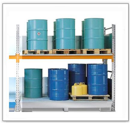 Combi-Regal 2 S16-I mit verzinkter Auffangwanne, für 16 Fässer à 200 Liter stehend, Anbaufeld