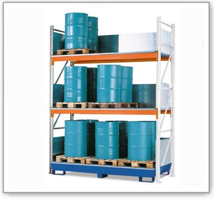 Combi-Regal 4 S24-I mit lackierter Auffangwanne, für 24 Fässer à 200 Liter stehend, Anbaufeld