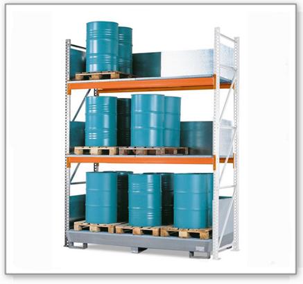 Combi-Regal 4 S24-I mit verzinkter Auffangwanne, für 24 Fässer à 200 Liter stehend, Anbaufeld