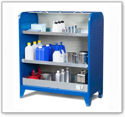 Chemikalien-Kleinteillager Fix, auf Standfüssen, Typ KT-2