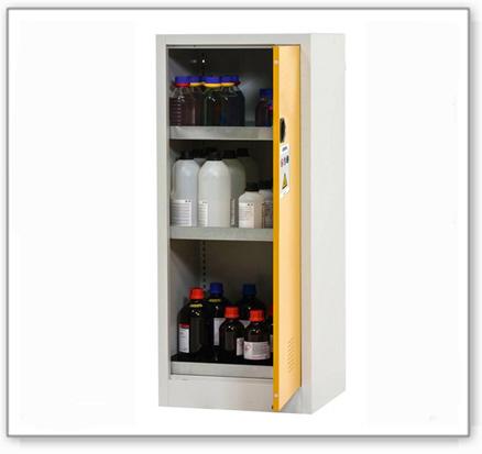 Chemikalienschrank Tough, CS 60-140, Korpus lichtgrau (RAL 7035), Tür sicherheitsgelb (RAL 1004)