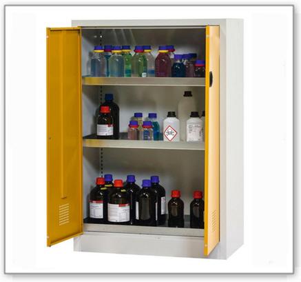 Chemikalienschrank Tough, CS 95-140, Korpus lichtgrau (RAL 7035), Türen sicherheitsgelb (RAL 1004)