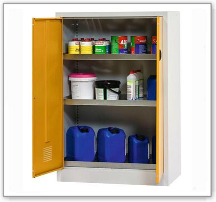 Chemikalienschr. Tough, CS 120-140, Korpus lichtgrau (RAL 7035), Türen sicherheitsgelb (RAL 1004)