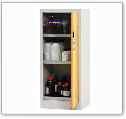 Chemikalienschrank Tough, Typ CS 95-195, Korpus lichtgrau (RAL 7035), Türen sicherheitsgelb (RAL 100