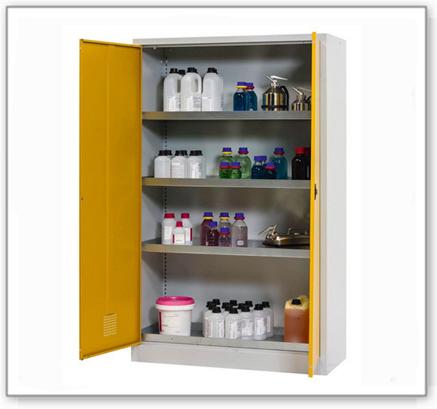 Chemikalienschrank Tough, CS 120-195, Korpus lichtgrau (RAL 7035), Türen sicherheitsgelb (RAL 1004)