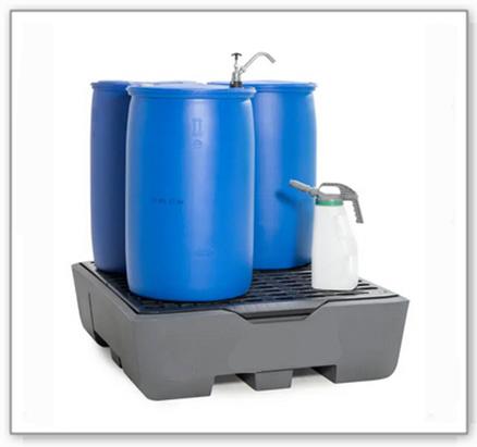 Auffangwanne pro-line aus Polyethylen (PE) für 4 Fässer, mit Gitterrost und Leckage-Anzeige